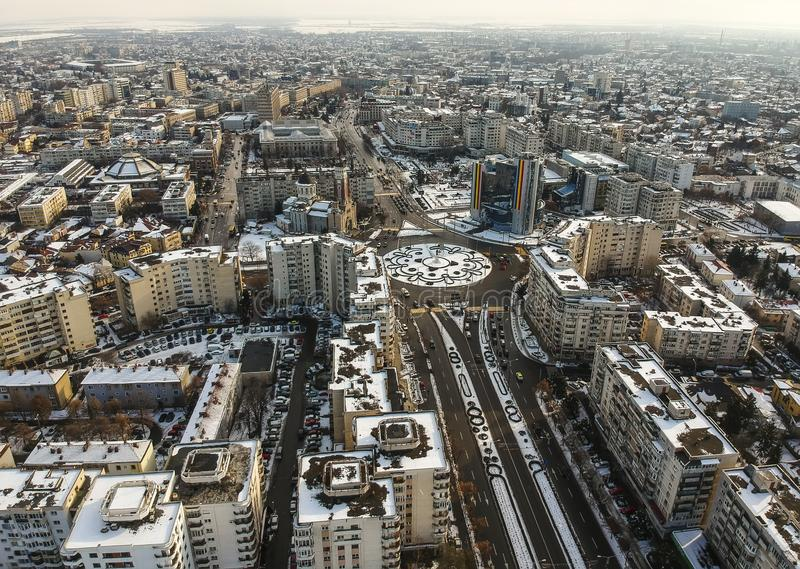 The center of Ploiesti City, Romania, aerial view stock images