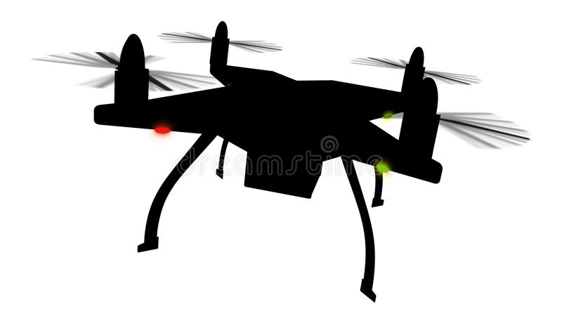 Drone silhouette 3D isolated stock illustration