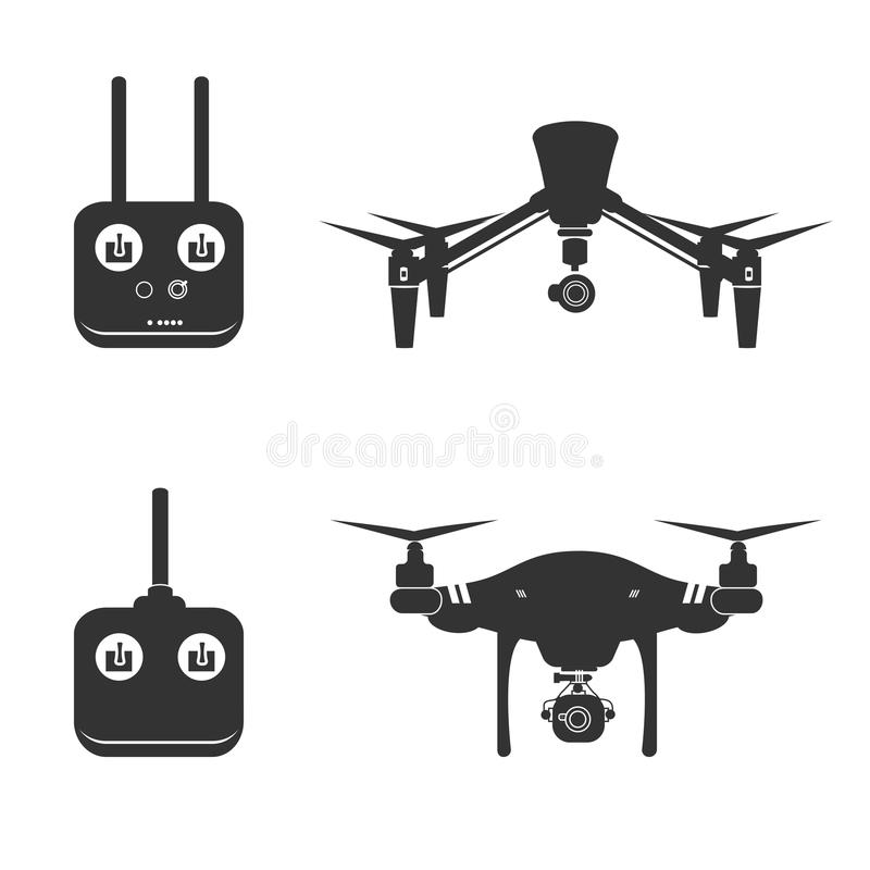 Drone Silhouette Video Aerial Fly Helicopter. Drone Video Aerial Fly Vector Illustration