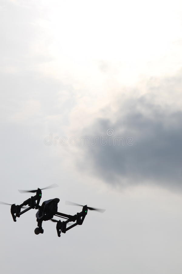 Drone in the Sky - DJI Inspire 1. Shot whith a 100mm 1:3,5 lens on a Canon 500D Blend 11, ISO 100, 1/1000s shutter royalty free stock photos