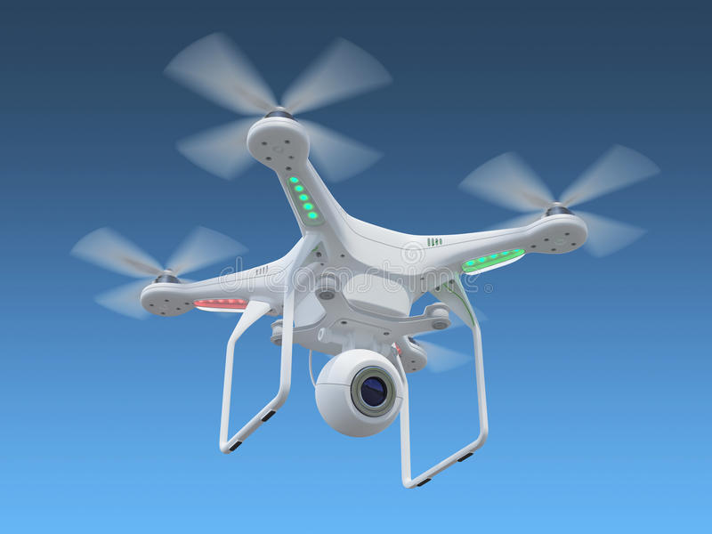 Drone in sky. White drone, quadrocopter, with photo camera flying in the blue sky. Concept