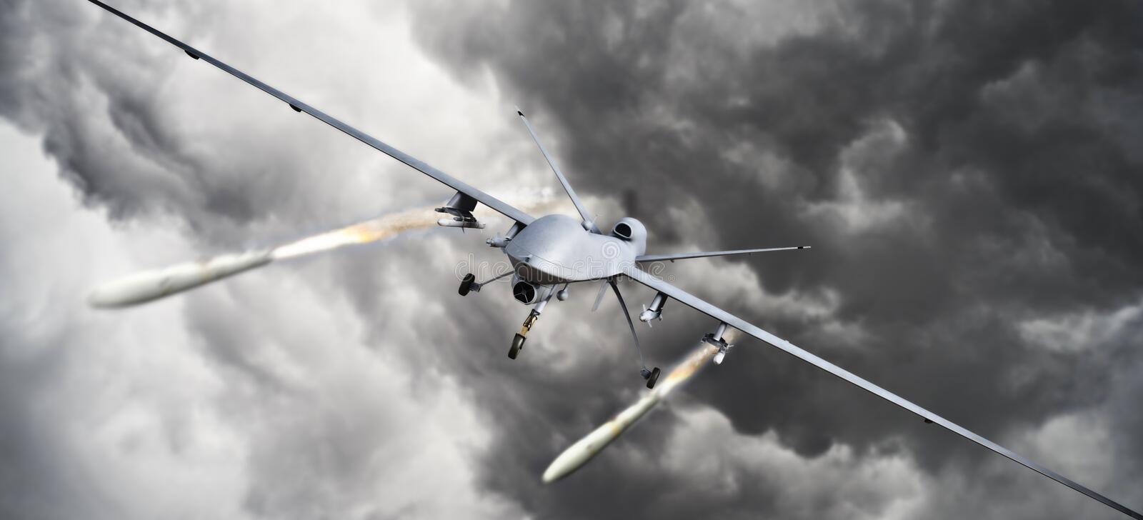 Drone strike .Front view of an unmanned aerial vehicle UAV military drone firing missile rockets at a target . stock illustration