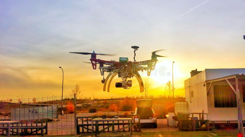 Drone at sunset royalty free stock images