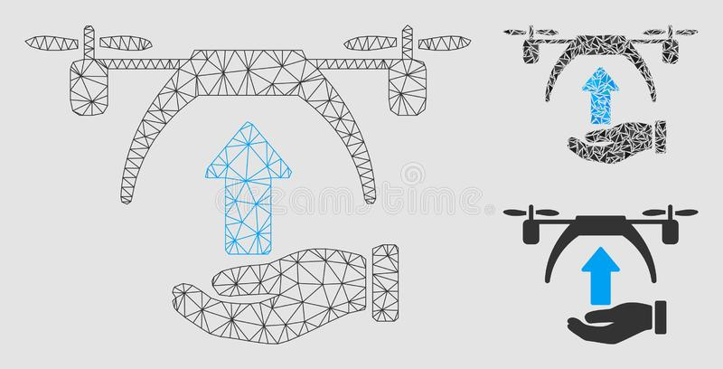 Drone Takeoff Vector Mesh Network Model and Triangle Mosaic Icon. Mesh drone takeoff model with triangle mosaic icon. Wire carcass polygonal mesh of drone vector illustration