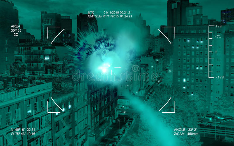 Drone target. Image of a drone target taken by the infra-red drone camera, an edifice in a big city, destructed by the launched drone missile vector illustration