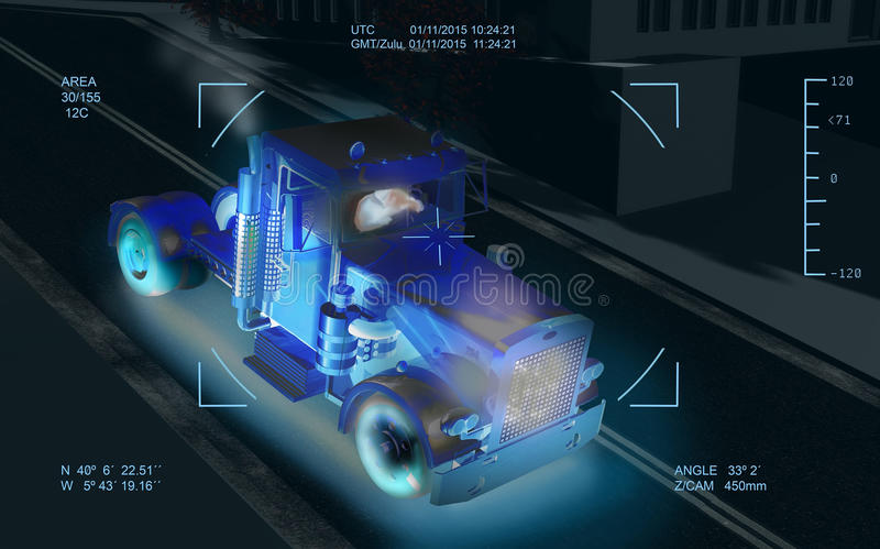 Drone target. Image of a truck conduced by a man, in the streets of a city, taken by the infra-red camera of a drone of attack royalty free illustration