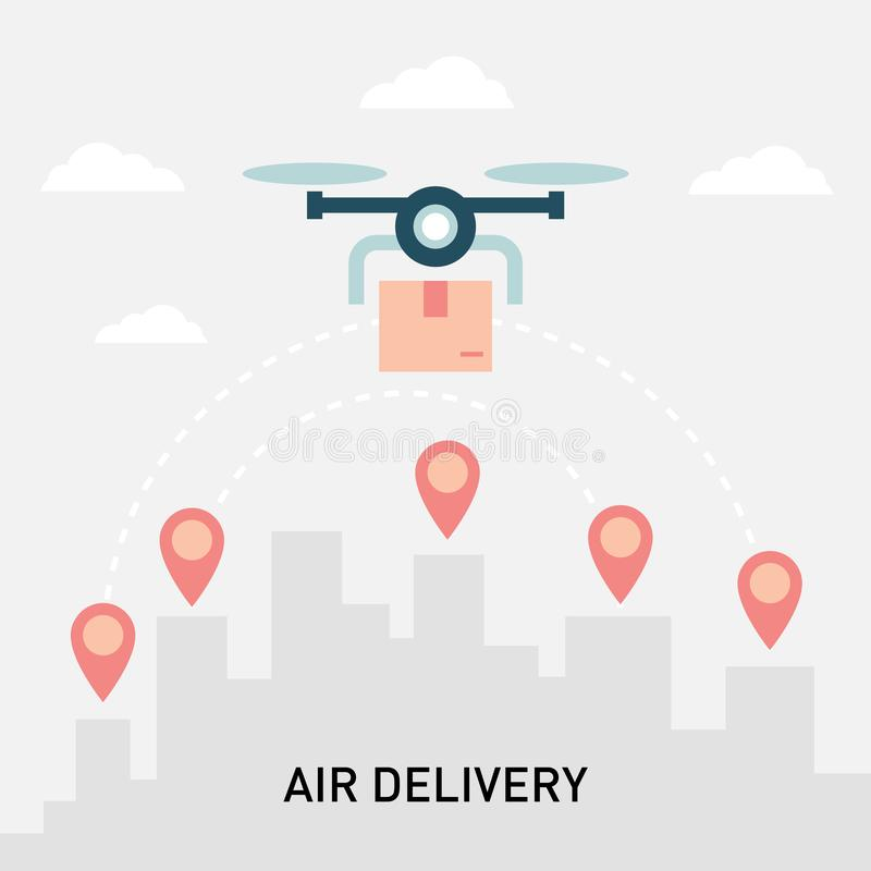 Drone technology concept. Drone parcel delivery. royalty free illustration