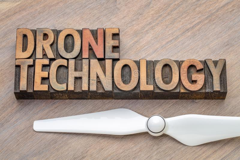 Drone technology - word abstract in wood type stock photography