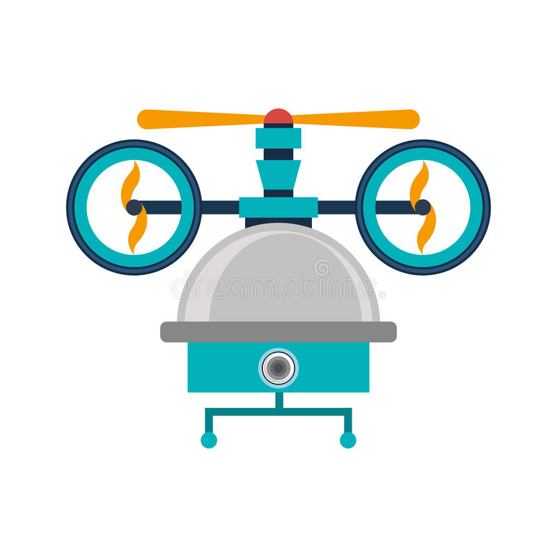 Drone of three airscrew with cabin and camera. Vector illustration royalty free illustration