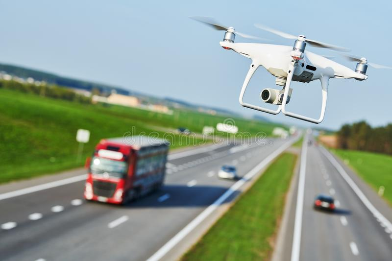 Drone and transportation. drone with camera controls highway road conditions stock photography