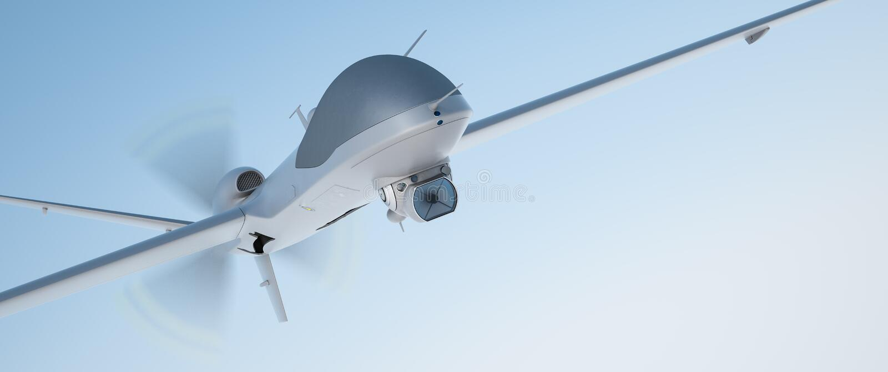 Drone UAV. In flight, front view stock illustration