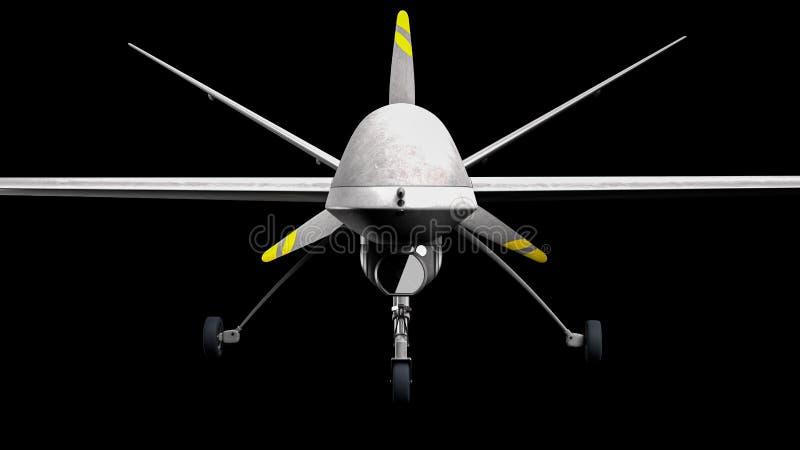 Drone UAV. Military drone over black background