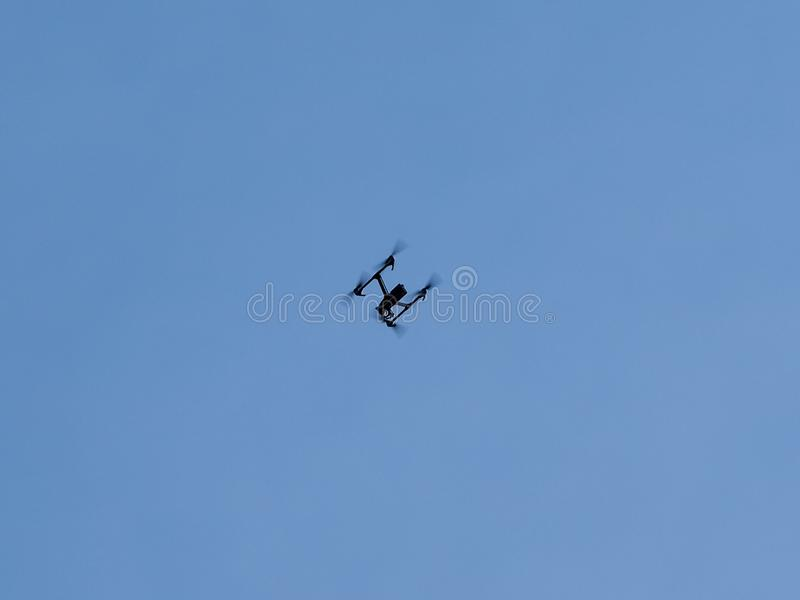 drone hovering in the sky royalty free stock image