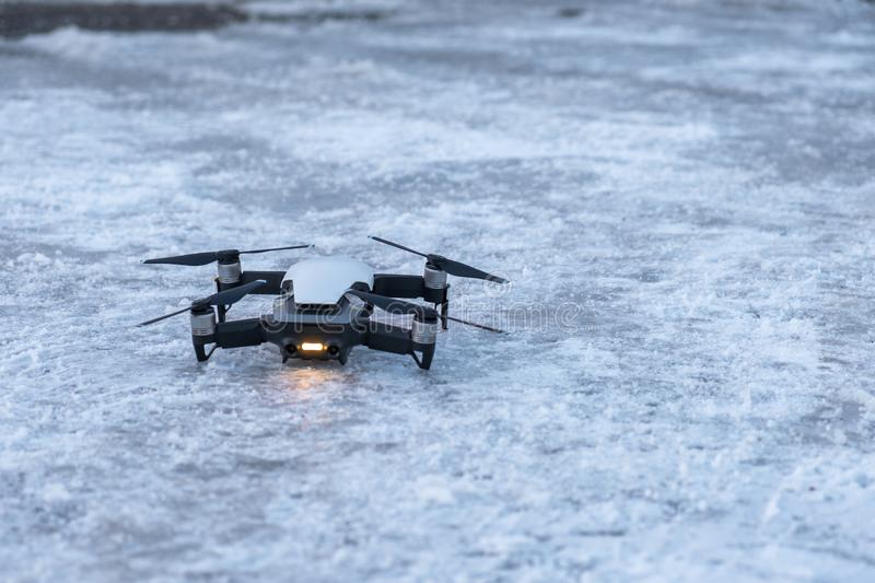 Drone Unmanned aircraft system parked standby on floor stock image