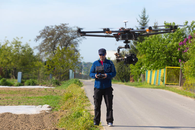Drone, Unmanned copter flight, pilot flying drone. Drone preparation for flight. drone flight stock photos
