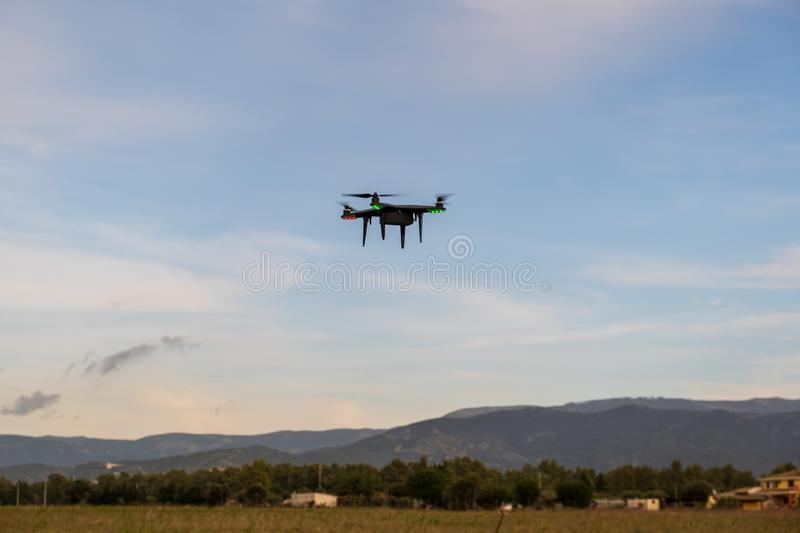 Drone used for exercises in a flying school. Drone used for an obstacle course. Coutryside view royalty free stock photography