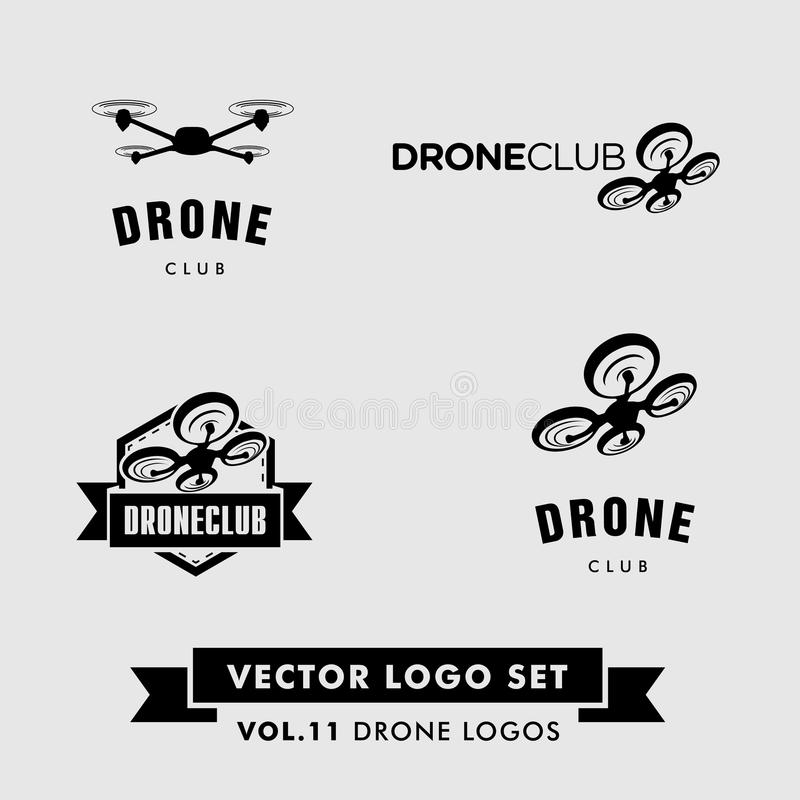 Drone Vector Logo Set. With a drone silhouette
