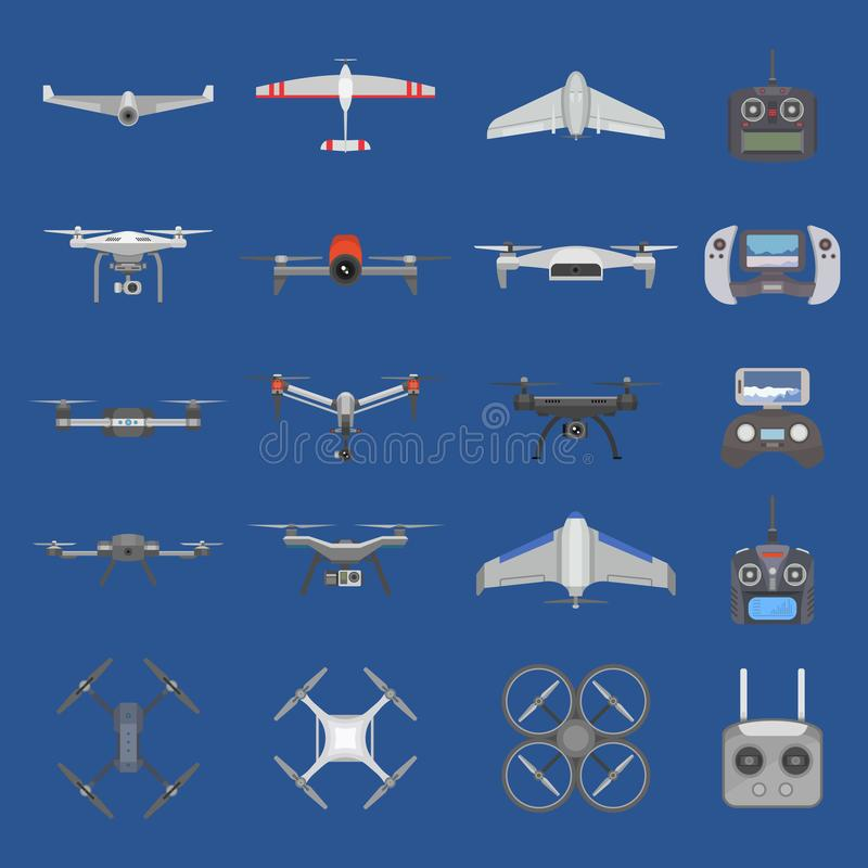 Drone vector quadcopter technology and aerial helicopter remote control flight with digital camera illustration set of stock illustration