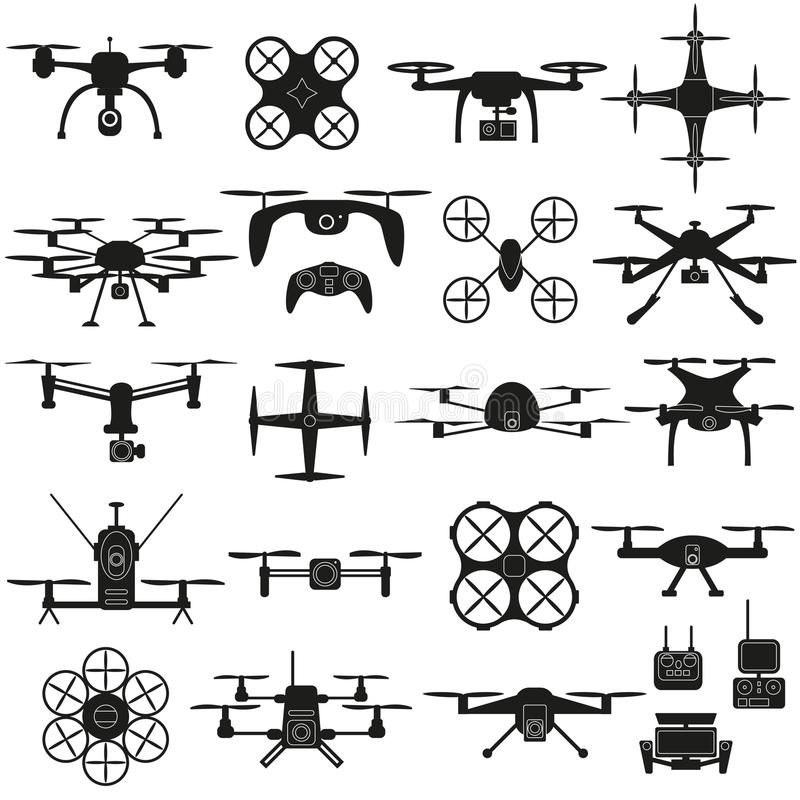 Drone vector set. Drone icon vector set, quadrocopters on a white background vector illustration