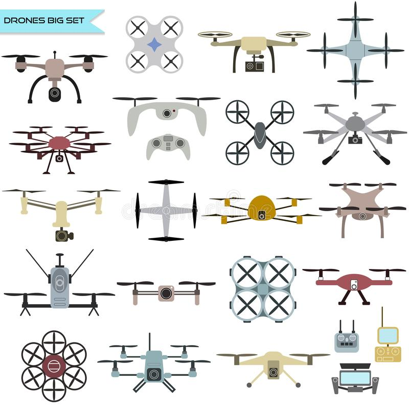 Drone vector set. Drone icon vector set, quadrocopters on a white background royalty free illustration