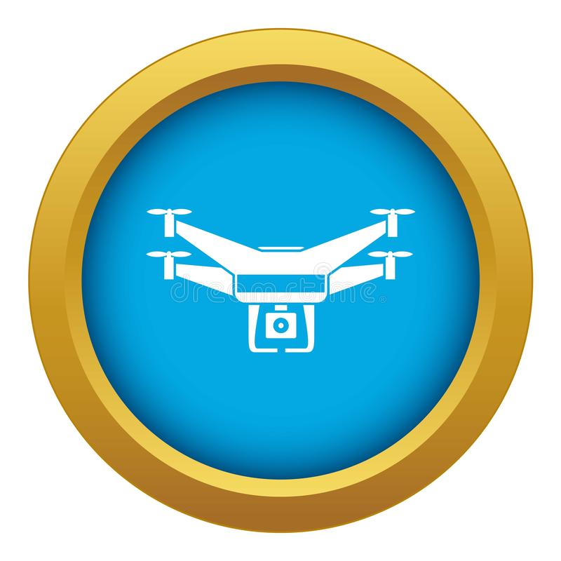 Drone video camera icon blue vector isolated vector illustration