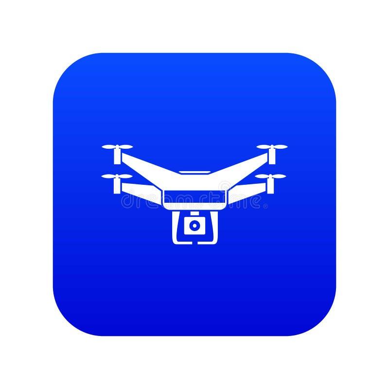 Drone video camera icon digital blue royalty free illustration