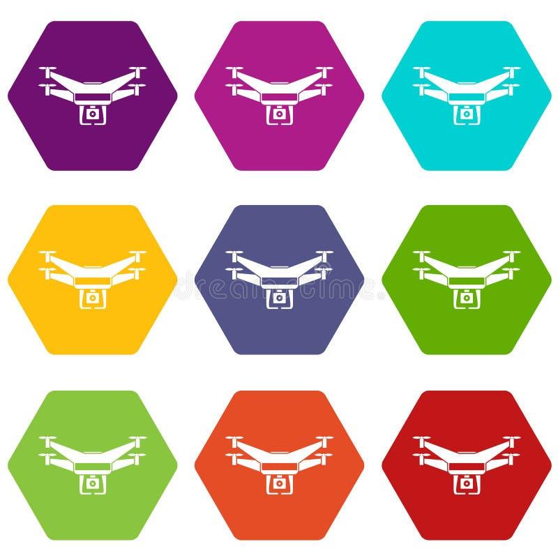 Drone video camera icon set color hexahedron royalty free illustration