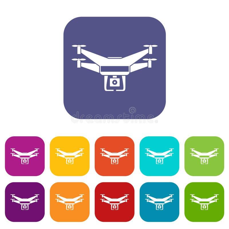 Drone video camera icons set stock illustration