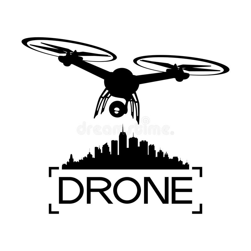 Drone with a video camera. And a silhouette of the city