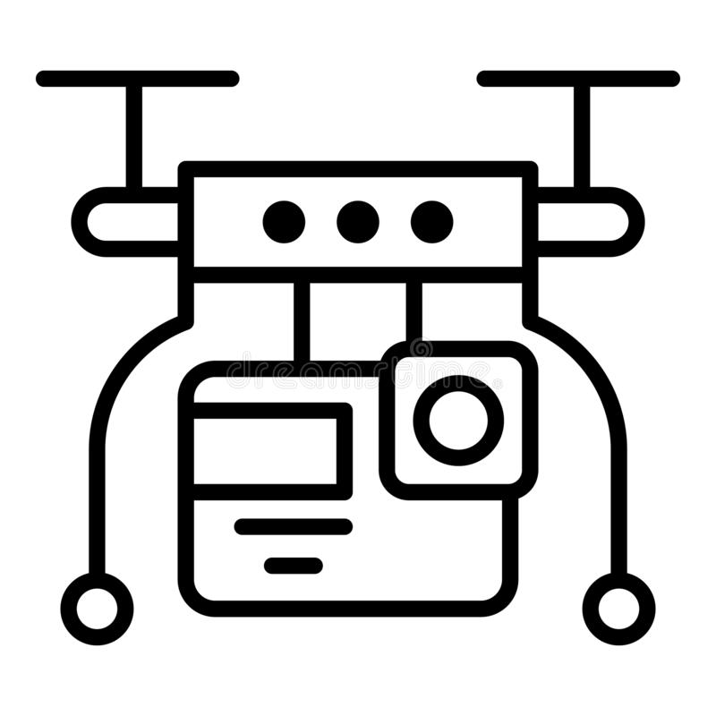 Drone video live icon, outline style vector illustration
