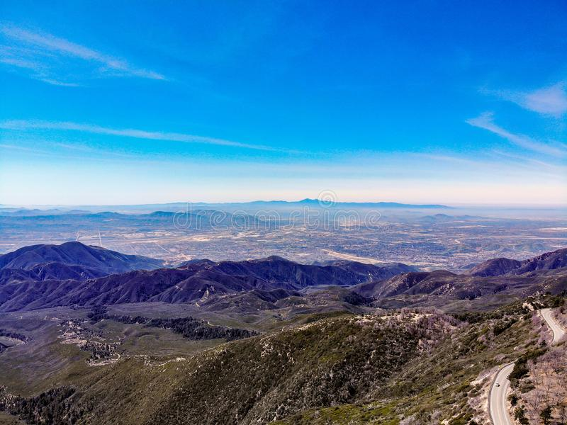 Drone View From Above The Rim of The World Looking Across The San Gabriel Valley. Drone View From Above The Rim of The World Looking Across Highway 18 and The royalty free stock photos