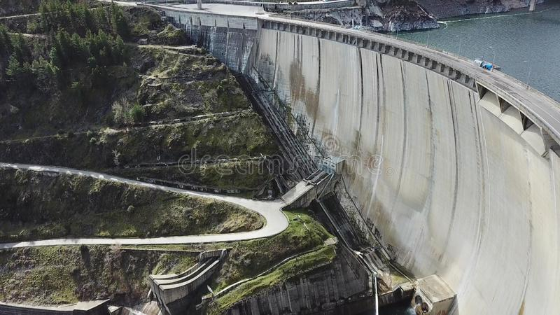 A drone view of Atazar Reservoir, Madrid, Spain stock images