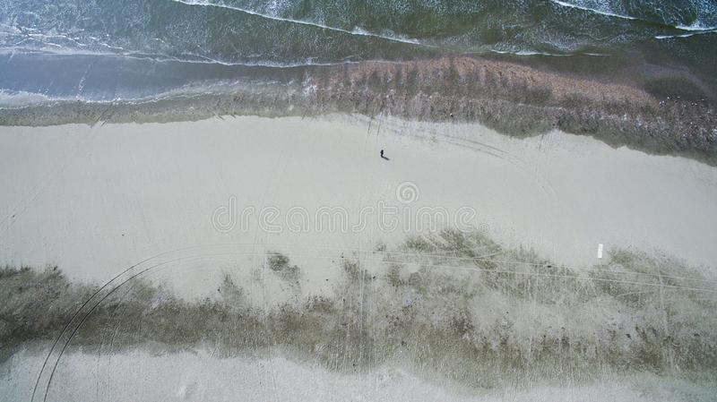 Aerial of a beach in Holland royalty free stock photography