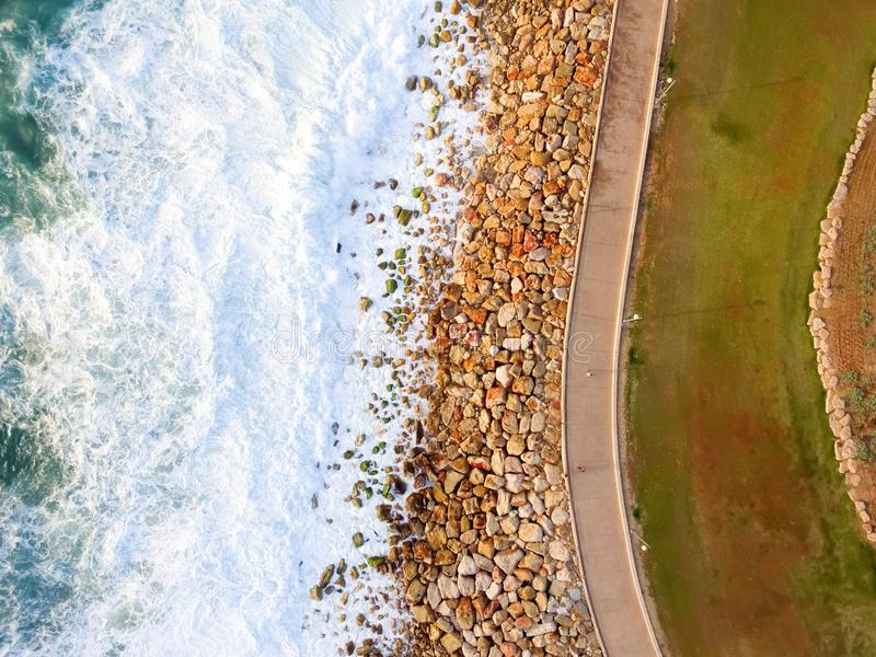 Drone view of the beach royalty free stock photo