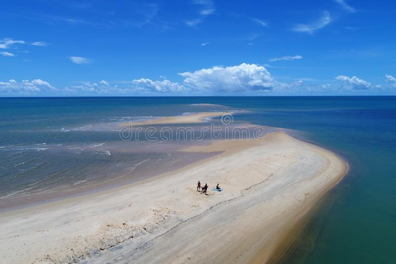 Aerial view of Caraíva & Corumbau beaches, Porto Seguro, Bahia, Brazil. Drone view of Caraíva, Trancoso and Corumbau beaches, in Porto Seguro and Prado stock images