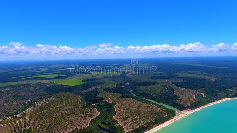Aerial view of Caraíva & Corumbau beaches, Porto Seguro, Bahia, Brazil. Drone view of Caraíva, Trancoso and Corumbau beaches, in Porto Seguro and Prado royalty free stock image