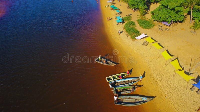 Aerial view of Caraíva & Corumbau beaches, Porto Seguro, Bahia, Brazil. Drone view of Caraíva, Trancoso and Corumbau beaches, in Porto Seguro and Prado royalty free stock photo