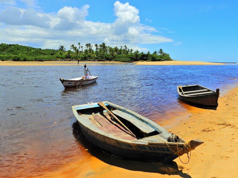 Aerial view of Caraíva & Corumbau beaches, Porto Seguro, Bahia, Brazil. Drone view of Caraíva, Trancoso and Corumbau beaches, in Porto Seguro and Prado stock photo