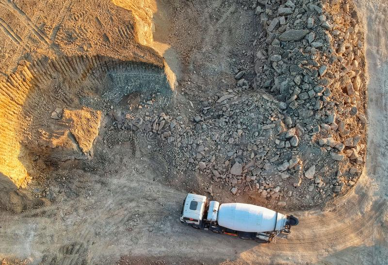 Drone view of a concrete truck on a construction site stock images