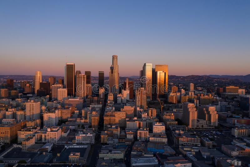 Drone view of downtown Los Angeles at sunrise. In California royalty free stock photo