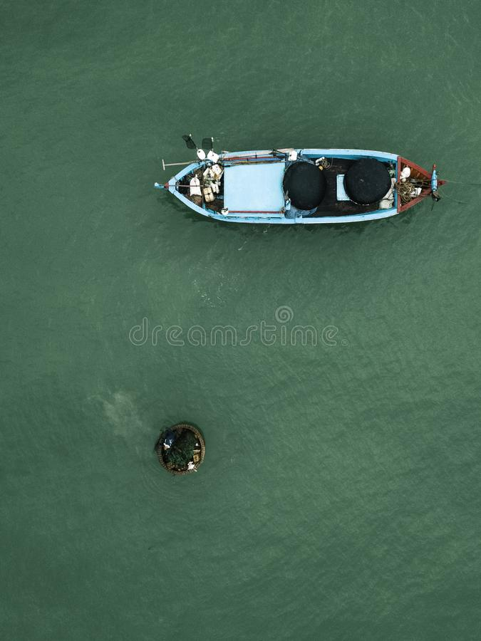 Drone view of a fish boat stock photography