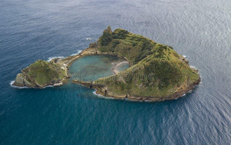 Drone view of Islet of Vila Franca do Campo stock photo
