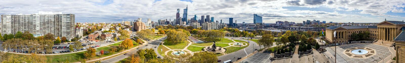 Drone view on the Philadelphia Skyline. Picture shows a drone view on the Philadelphia Skyline stock photos