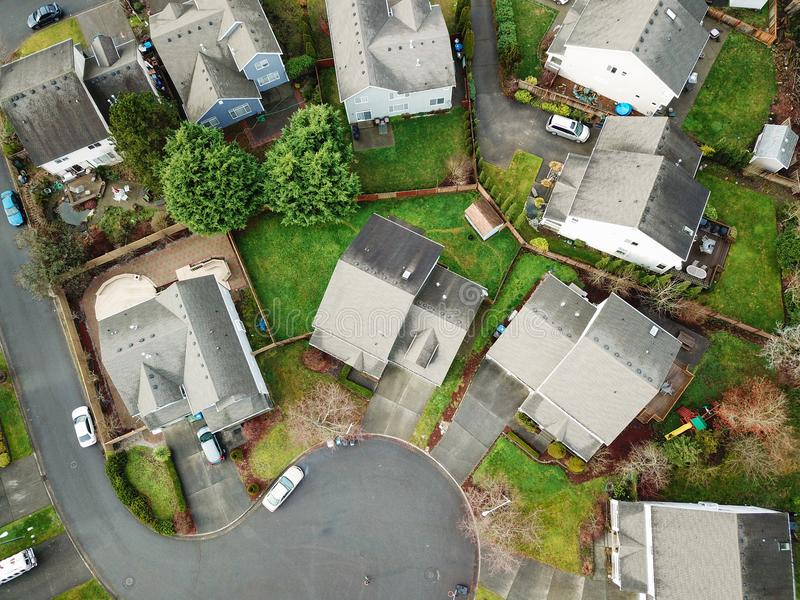 Drone view of suburb outside of Auburn. royalty free stock photography