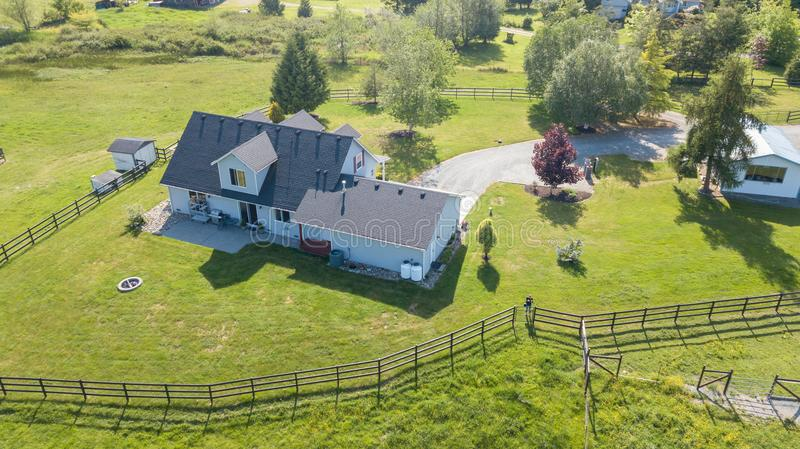 Drone view of single family house stock photo