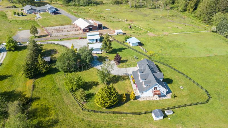 Drone view of single family house stock images