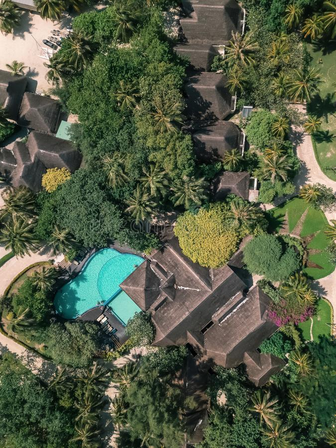 Drone view of a vila with pool stock photo