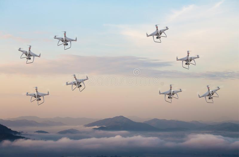 Drone war .drone copter flying with digital camera.Drone with high resolution digital camera. stock photography