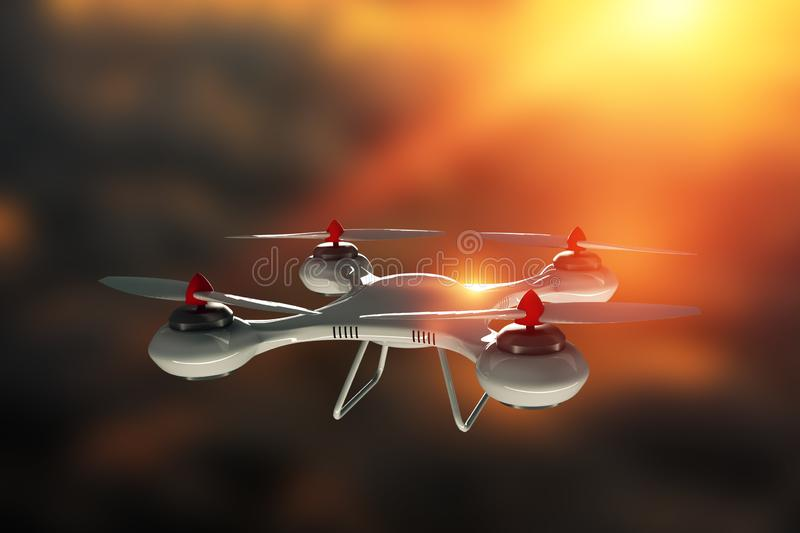 Drone, white quadrocopter against the sky with copy space. The concept of technology, robotization, computerization. 3D render,. Mixed media stock illustration