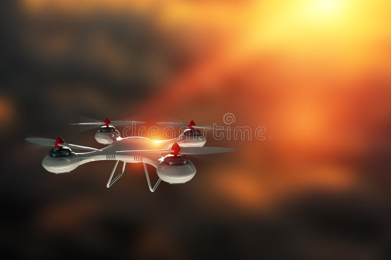 Drone, white quadrocopter against the sky with copy space. The concept of technology, robotization, computerization. 3D render,. Mixed media royalty free illustration